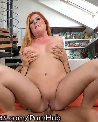 LustyGrandmas curvy red Mature loves Riding Dick