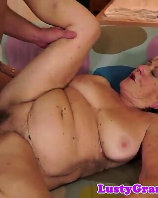 Hairy granny banged and squirted with cum