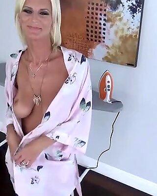 Classy sperm lover busty MILF stepmom blows her stepson