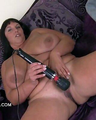 Mature big breasts Carol Brown uses the hitachi
