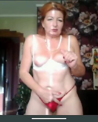 Granny with a shaved pussy flashes tits, close up of her ass