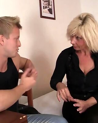 Hot blonde mature woman luvs riding his yam-sized pipe