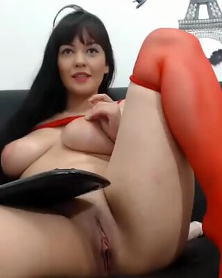 Cute girl with amazing big tits teasing on webcam