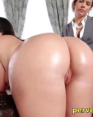 Teen fucked by female Boss with Strapon