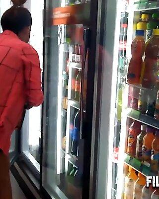 Asian filipina teen hooker can buy food in super market