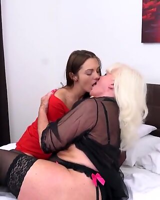 Lesbian grannies lick and fuck young girls