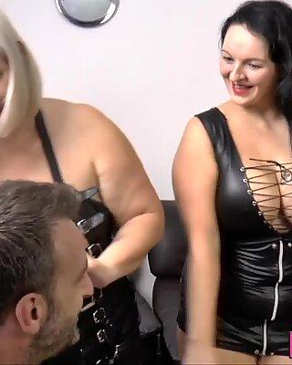 Gran in latex lingerie sucks and fucks