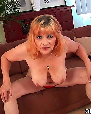 Hairy grandma Gunda with her big tits has solo sex