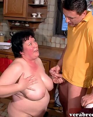 German chubby fat housewife mom with hairy pussy in kitchen