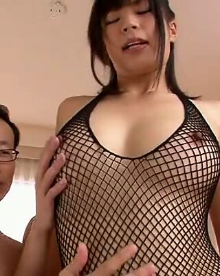 Three guys get a japanese girl blow job from Saki Aoyam