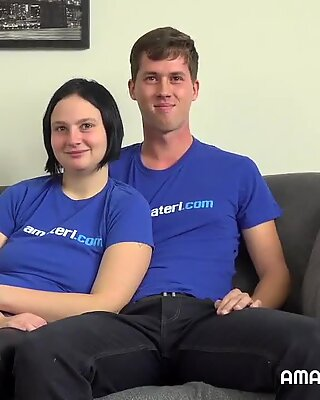 This amateur and shy couple wants to show us their sex skill