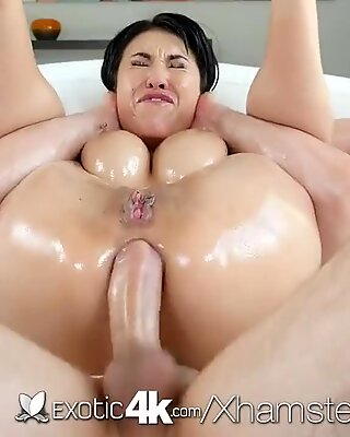 Exotic4K - huge-boobed chinese Jayden Lee greased ass fucked hard