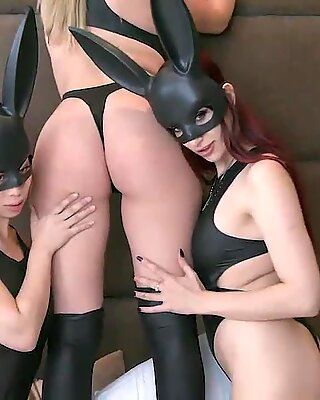 Teens in cute outfits shares a huge cock and slobber all over it before taking it into their tight pussies