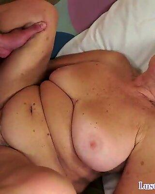 Nasty grandma getting pussy ravaged