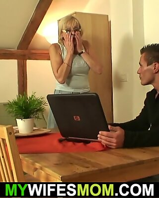 son in law fucks old girlfriends mom on the table