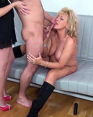 chubby mom threesome fist fucked